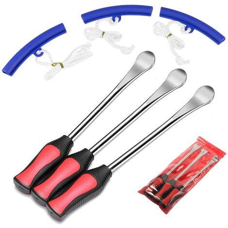 Cucchiai Attrezzo Leva pneumatico 3 cucchiai Attrezzo pneumatico con 3 protezioni per cerchioni per accessori per motociclette auto