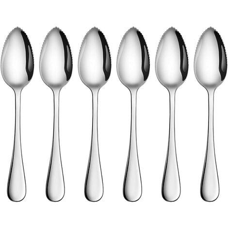 Cucchiaio per pompelmo e dessert - Acciaio inossidabile con bordo seghettato (6,5 pollici, set di 6)