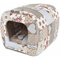 Cuccia a tunnel imbottita per cani e gatti in fantasia Cuoricini da 33x42 cm 97076bb204e0