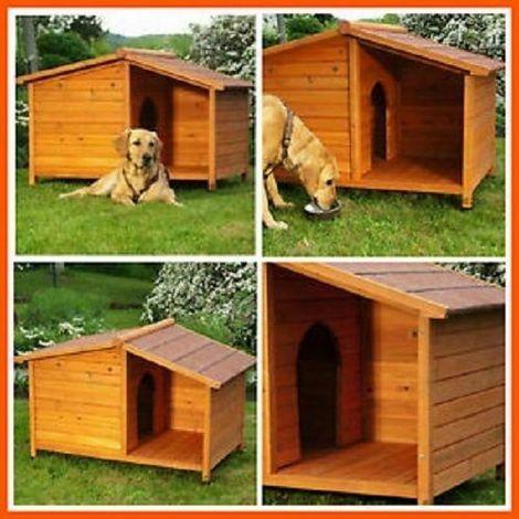 Cuccia per cani con terrazzino coperto L102 cm x 64 cm x 65 cm