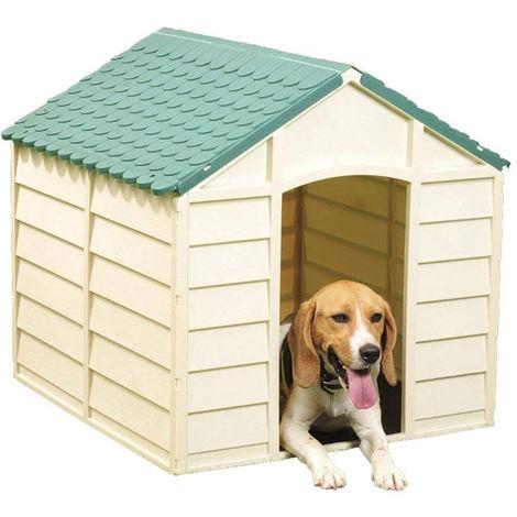 Cuccia per Cani in Resina Plastica Taglia Grande con Pavimento da Esterno Verde