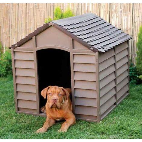 Cuccia per Cani in Resina Taglia Grande con Pavimento da Esterno in Plastica