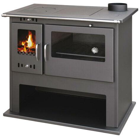 Cucina a legna con forno 10,5KW antracite stufa 93x62xH87cm FOLK ...