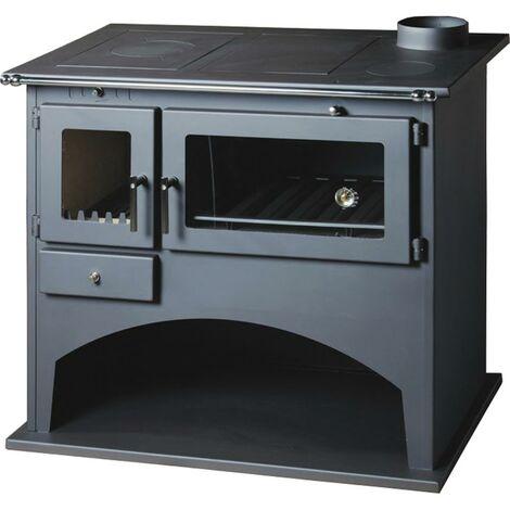Cucina a legna con forno 10,5KW piastra radiante stufa antracite casa FOLK