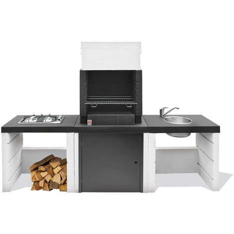 Cucina a legna da esterno modello Hercules in cemento, colore nero e bianco
