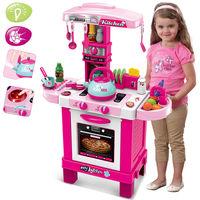 Cucina Giocattolo Bambini Luci Suoni e Bollitore Funzionante 29 Accessori Rosa