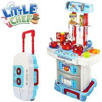 Cucina Giocattolo Bambini Richiudibile in Trolley Fornello Luci Suoni Accessori