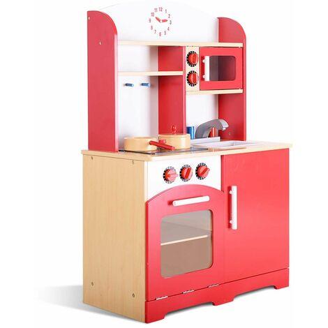 Cucina per bambini giocattolo in legno compatta