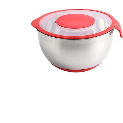 Cuenco para mezclar Cuencos para ensalada de acero inoxidable Tapa hermetica con cuencos anidables centrales extraibles con escala de asa Cuenco para preparacion de cocina Cuenco para ensaladas