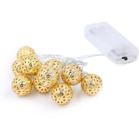Cuerda de luz decorativa de bola de hierro,20 LED,luz amarilla c¨¢lida dorada, 2.1M
