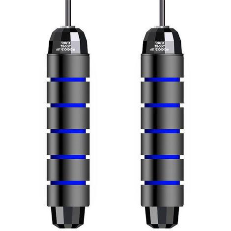 Cuerda de salto con rodamiento en angulo T libre, ajustable,Azul negro