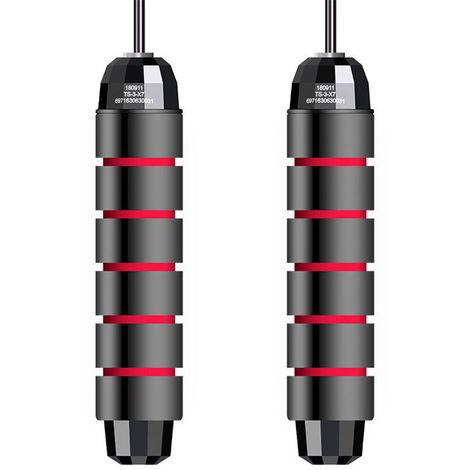 Cuerda de salto con rodamiento en angulo T libre, ajustable,Negro y rojo
