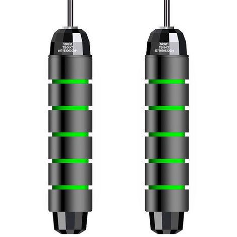 Cuerda de salto con rodamiento en angulo T libre, ajustable,Verde negro