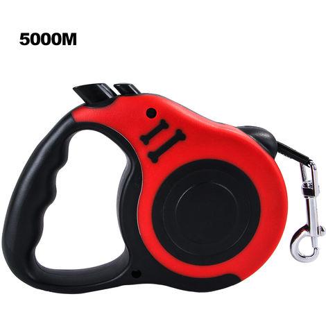 Cuerda de traccion automatica para perros, cachorros y gatos,Rojo, 5000MM