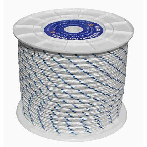 Cuerda Fijacion Trenzada Tipo Driza 20Mm 100 Mt Nylon Blanco/Azul Hyc 5110200100