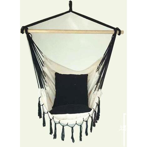 Cuerda para silla colgante con borlas y 2 cojines, asiento columpio blanco para interiores y exteriores, con varilla