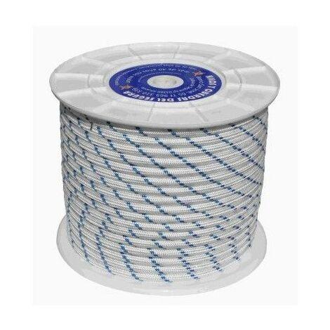 Cuerda Trenzada 08Mm Nylon Blanco/Azul Tipo Driza Hyc 100 Mt