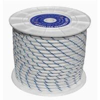 Cuerda Trenzada 14Mm Nylon Blanco/Azul Tipo Driza Hyc 100 Mt