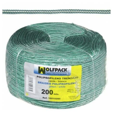 Cuerda trenzada polipropileno blanca / verde (bobina 200 m.)