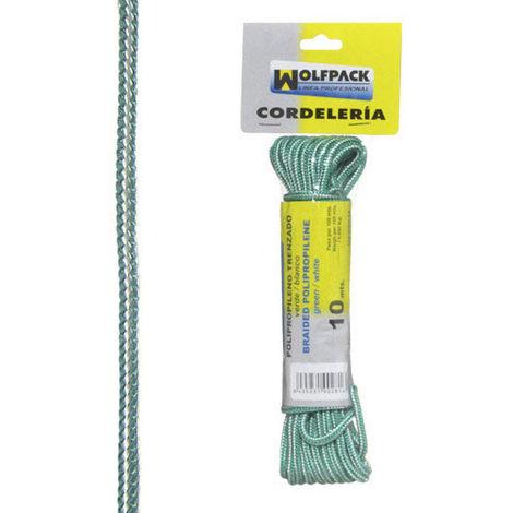Cuerda trenzada polipropileno blanca / verde (madeja 20 m.)