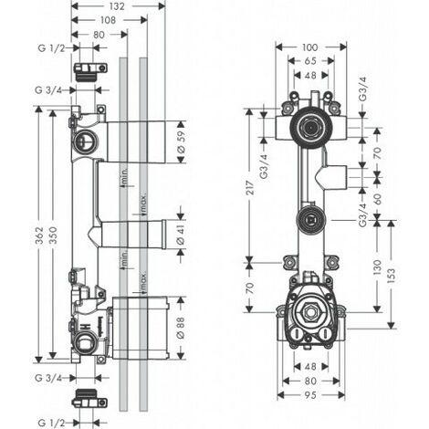 Cuerpo básico Hansgrohe para módulo de termostato empotrado 38 x 12 para 3 consumidores - 36708180