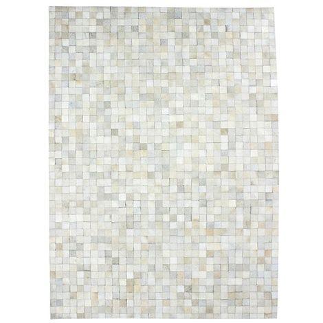 CUIR - <p>Tapis en cuir motif mosaïque blanc 120x170</p> - Blanc