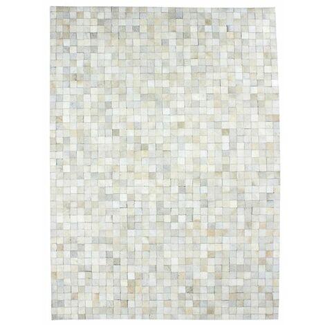 CUIR - <p>Tapis en cuir motif mosaïque blanc 160x230</p> - Blanc