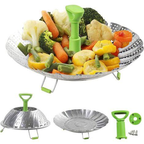 Cuiseur vapeur pour casserole, le cuiseur vapeur pliable est adapté pour différentes tailles de poissons, avec pieds antidérapants et poignées anti-brûlure, comme les légumes, les œufs, le poisson Usw (18-28 cm)