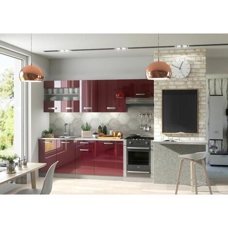 Cuisine complète LIVRAISON GRATUITE - DANA laquée 2m40 - 7 meubles