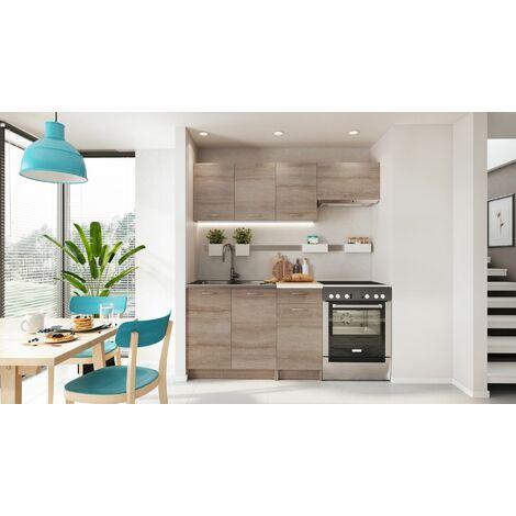 """main image of """"Cuisine complète LIVRAISON GRATUITE - MELA chêne clair sonoma 1m80 - 5 meubles - MOINSCHERCUISINE - CHENE CLAIR SONOMA"""""""