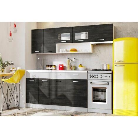 """main image of """"Cuisine complète LIVRAISON GRATUITE - MORENO chêne cendré - 2m40 - 6 meubles - MOINSCHERCUISINE - CHENE cendré"""""""