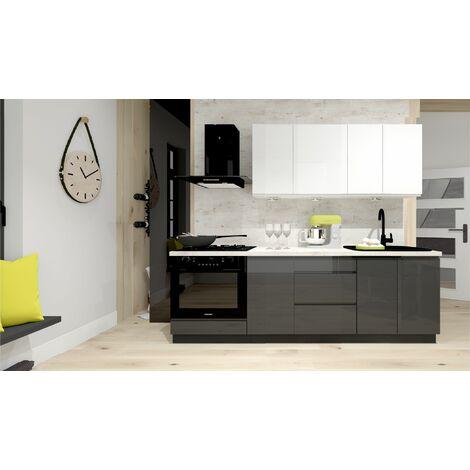 Cuisine complète LIVRAISON GRATUITE - NINA blanc gris laqué - 2m40 - 7 meubles - MOINSCHERCUISINE - BLANC laqué