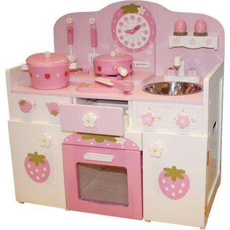 Cuisine interactive en bois enfant avec lave-vaisselle et équipement jeu d'imitation ISABELA | Rose - Rose