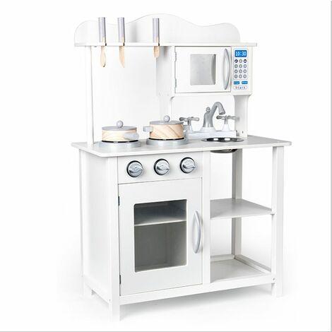 Cuisine jouet en bois | Garçon et Fille 3 Ans | Jeu imitation cuisine | Blanc | 60*30*85cm - Blanc
