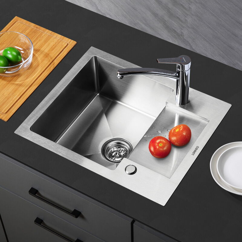 Pyramis E 78 installation évier bassin en acier inoxydable évier lavabo lisse 780 x 435 mm