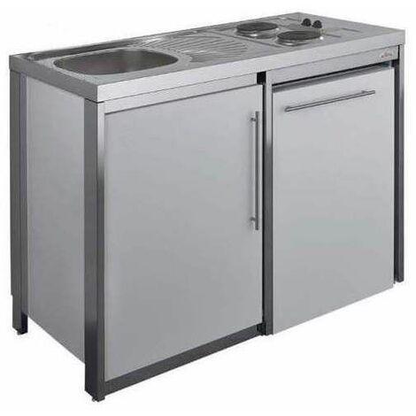 Cuisinette avec plaque et réfrigérateur METALLINE 120cm, thermolaqué aluminium