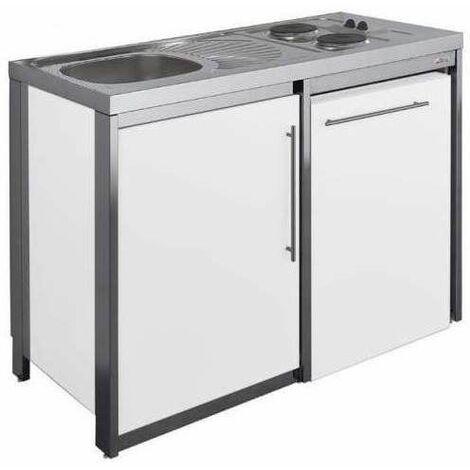 Cuisinette avec plaque et réfrigérateur METALLINE 120cm, thermolaqué glacier