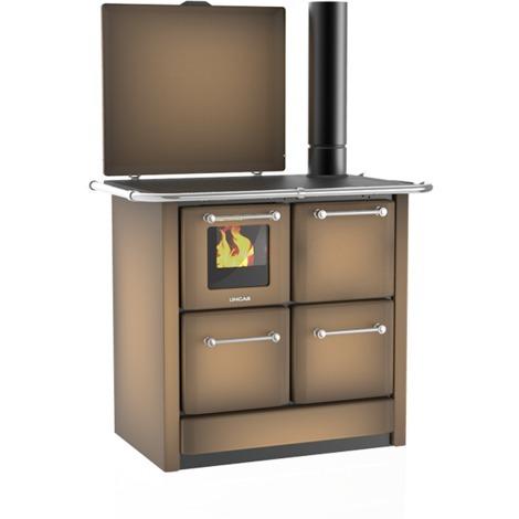 Cuisinière à bois 135 GN V Sole acier émaillé marron - Flamme visible