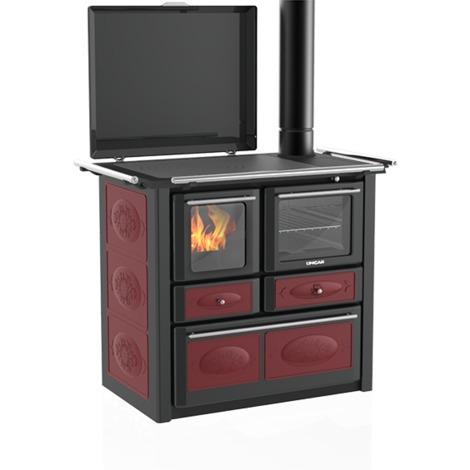 Cuisinière à bois Aurora 148 VL acier émaillé gris foncé Céramique bordeaux - Fl