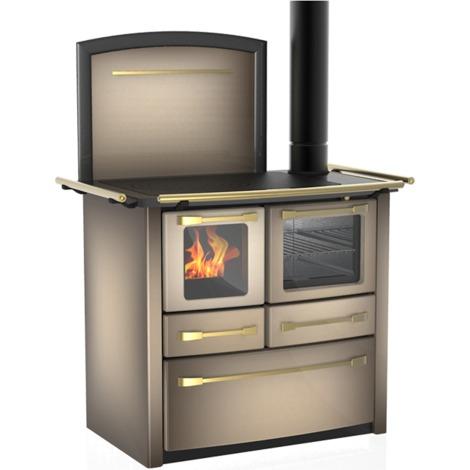 Cuisinière à bois Valentina 148 V acier émaillé cappuccino - Flamme visible