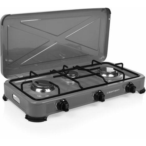 Cuisinière à gaz Campart GA-8403 Quebec – Sécurité thermique–3 brûleurs – 2 X 1500 W et 1 X 1000 W – Gris