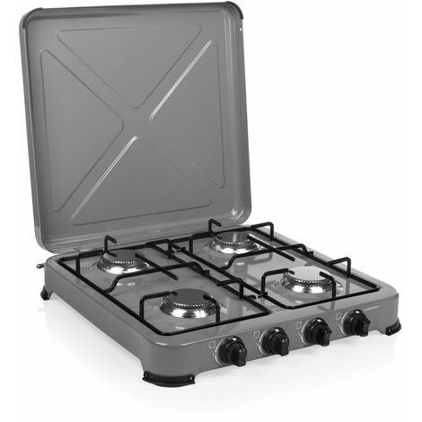 Cuisinière à gaz Campart GA-8404 Ontario – Sécurité thermique–4 brûleurs – 4 x 1500 W – Gris