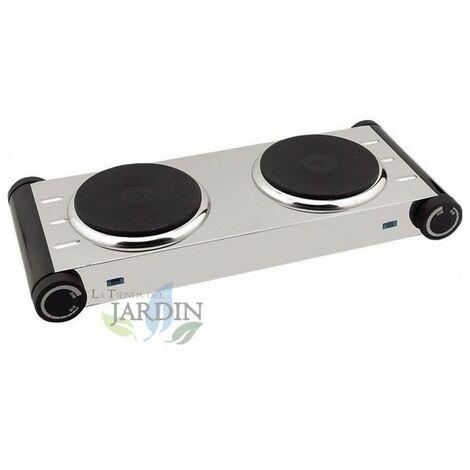 Cuisinière électrique 2 feux inox 50x29 cm