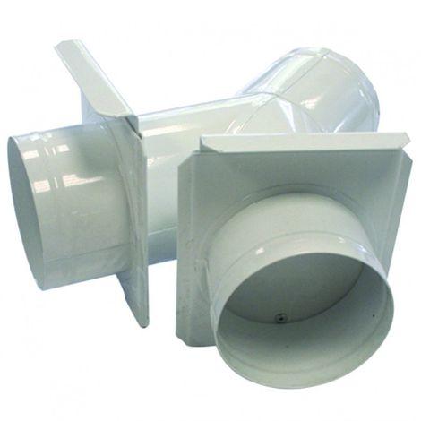 Culotte de bifurcation 125 mm avec tirette d'obturation + 2 sorties 100 mm (machine)