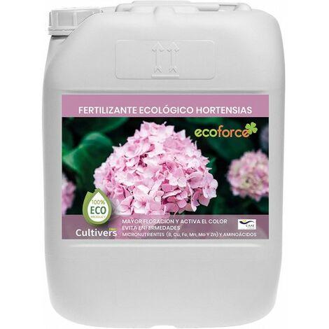 CULTIVERS Fertilizante Ecológico Hortensias Líquido 20 L. Mayor Floración y Intensifica el Color. Plantas sanas y Fuertes