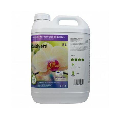 CULTIVERS Fertilizante Ecológico Orquídeas Líquido 5 L. Crecimiento Saludable, Mayor Floración e Intensifica el Color