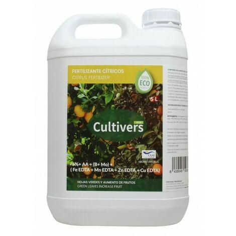 CULTIVERS Fertilizante Ecológico para Cítricos Líquido 5 L. Hojas más Verdes y Aumenta del Tamaño Fruto