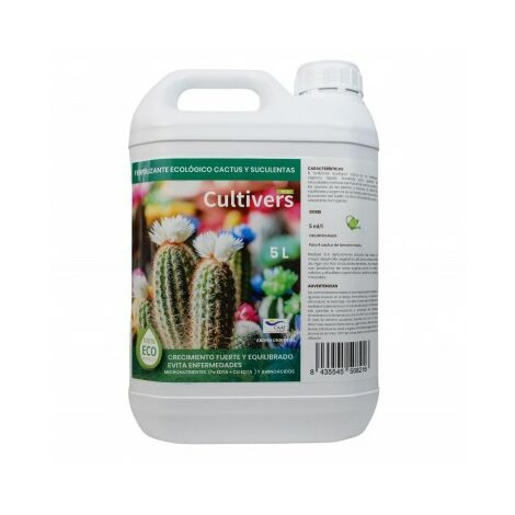 CULTIVERS Fertilizante Liquido Ecológico Cactus y Crasas de 5 L. Plantas más Resistente a Enfermedades