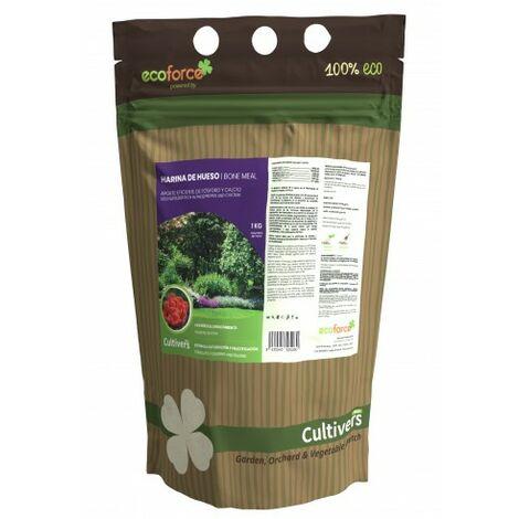 CULTIVERS Harina de Hueso de 1 kg. Abono para Plantas ecologico Que aporta fosforo y Calcio a Todo Tipo de Cultivos