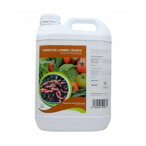 CULTIVERS Humus de Lómbriz 5 L. Materia orgánica Líquida Rica en Microorganismos. Regenerador de la Vida en el Suelo